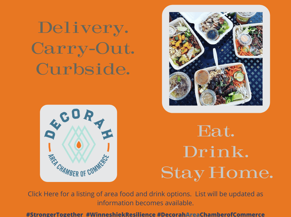 Post Photo for Delivery. Carry out. Curbside in Decorah!