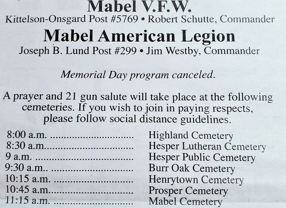 Post Photo for Revised Mabel VFW Memorial Day Services 2020