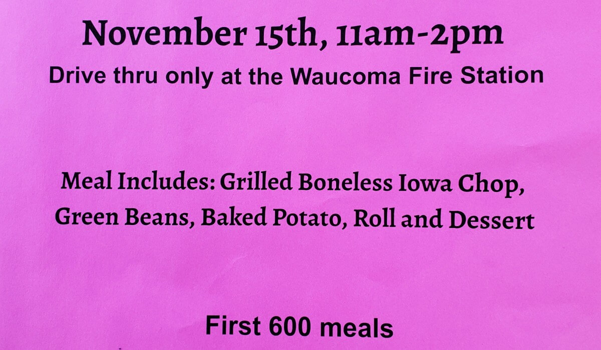 Post Photo for Waucoma Fire Pork Chop Dinner